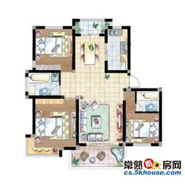 140平 精装四房 8米开间客厅 328万