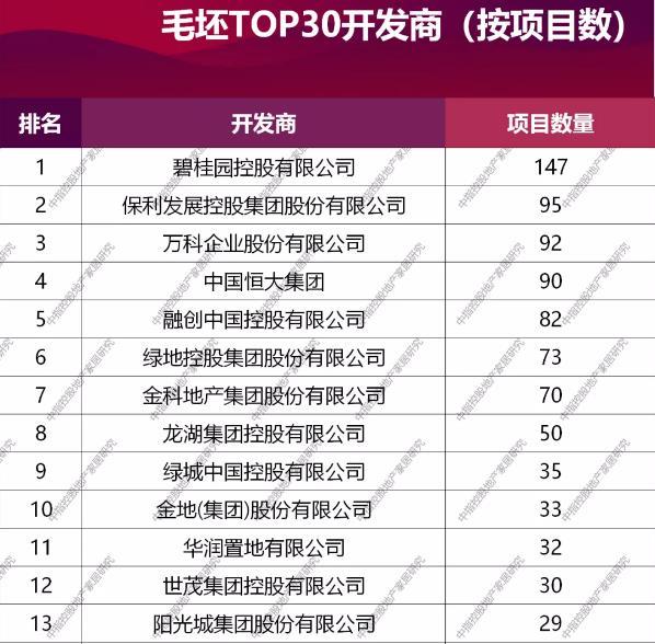 2020年中国毛坯市场TOP30开发商榜单