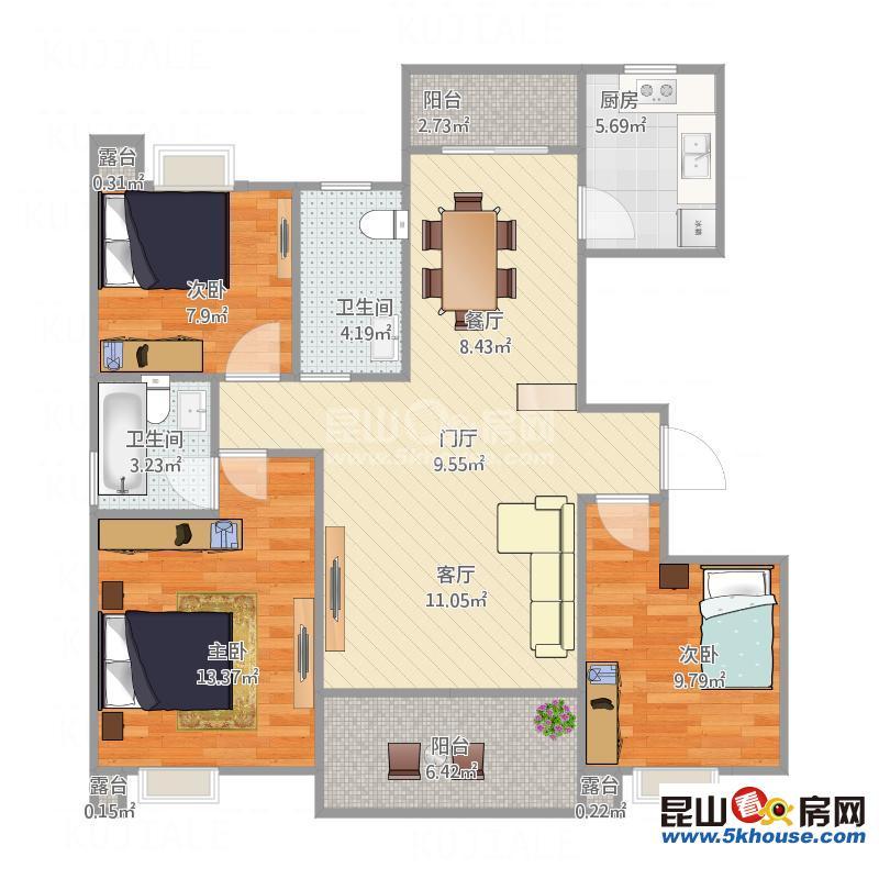 奥园印象高迪 140万 3室2厅2卫 精装修 ,阳光充足,双校区房
