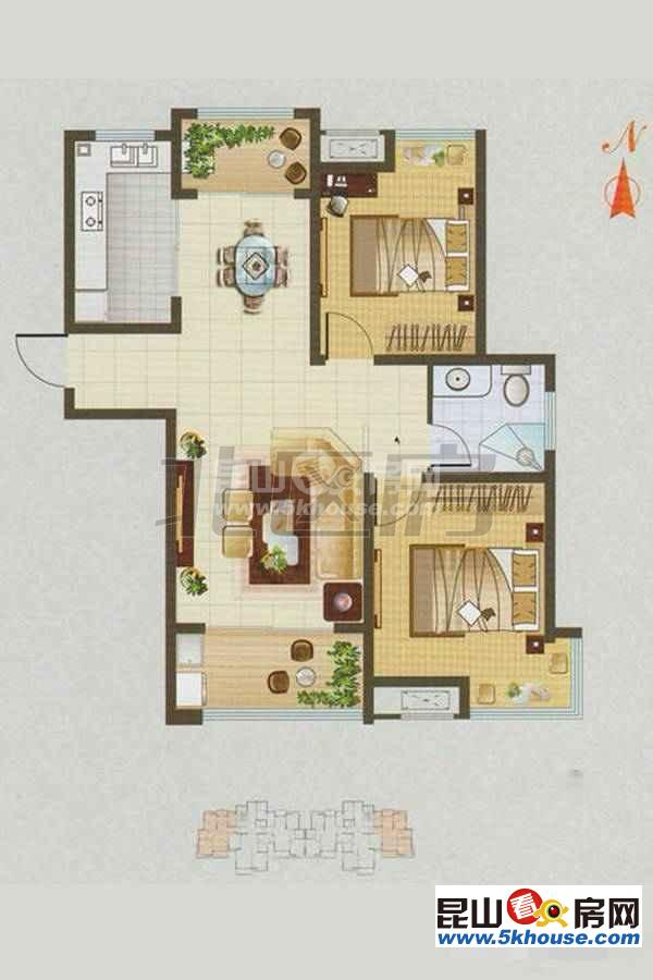 古澄花园 140万 2室2厅1卫 毛坯 ,格局好价钱合理