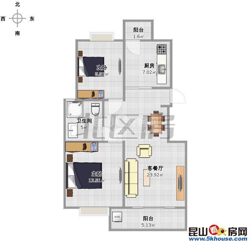 罗马假日 1800元月 2室2厅1卫,2室2厅1卫 精装修 ,少有的低价出租
