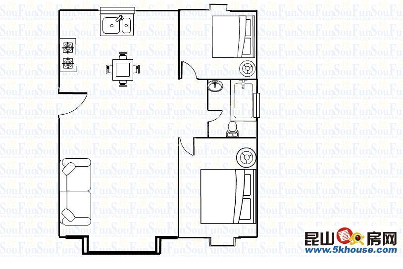 清华名城 105万 2室2厅1卫 精装修 ,价格真实机会难得快快送车库16平方