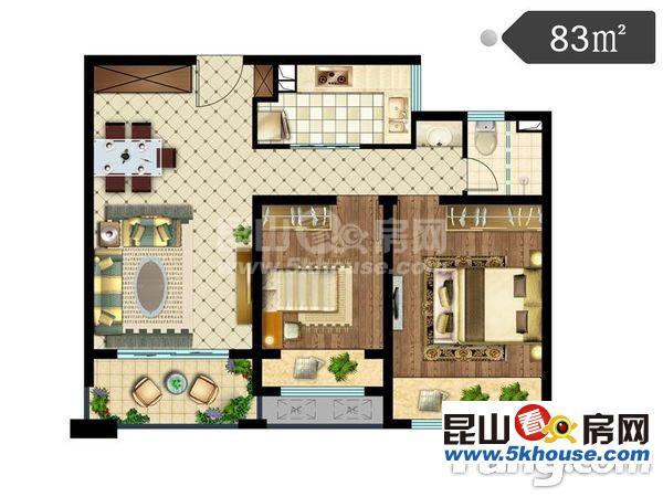 绿地滨江雅苑 精装修2室2厅1卫满二 房东置换诚心急售