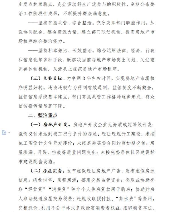 关于印发《关于持续整治规范房地产市场秩序的实施方案》的通知!